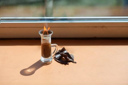 hot strong coffee cocktail with fire.B52