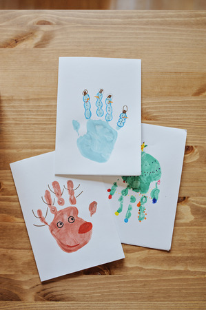 post cards: Natale bambini Handprints cartoline