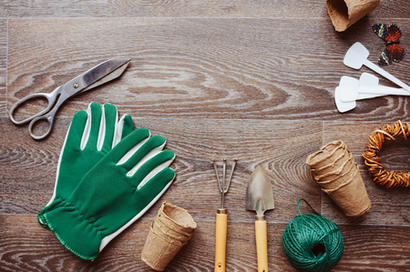 Spring gardener table top view with tools, gloves, peat pots and garden labels on brown wooden background. Flat lay composition, seasonal preparations for sawing seeds