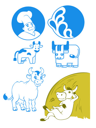 set of lables and illustration for milk Vector