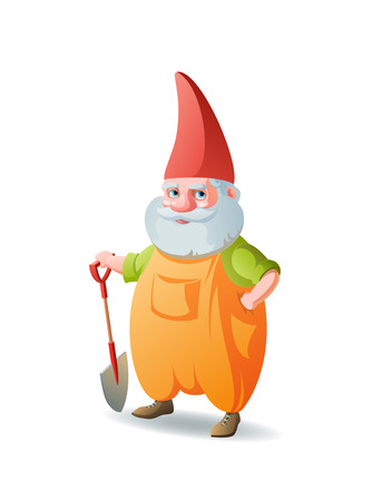 lawn gnome: cartoon garden gnome Illustration