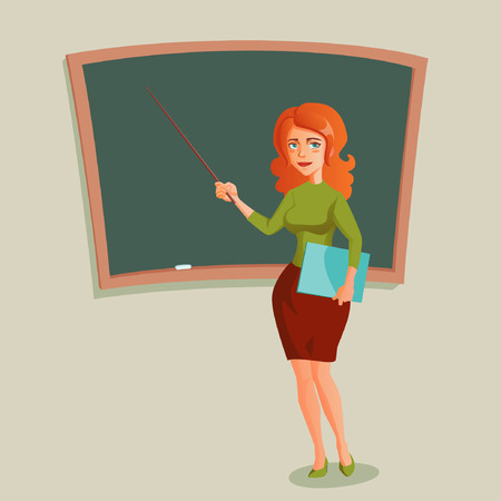 female teacher: illustration with teacher and blackboard Illustration