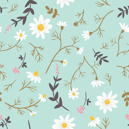 chamomile flower: Chamomile. floral seamless pattern Illustration