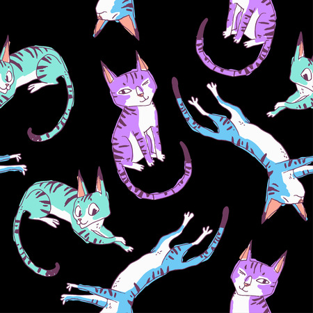 funny cats: Funny cats. seamless pattern