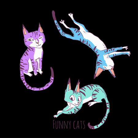 funny cats: Funny cats. vector hand drawn illustration