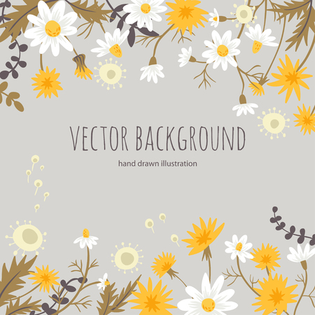 retro flowers: meadow flowers. vector background Illustration