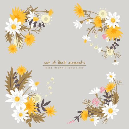 Fleurs de prairie. Ensemble d'éléments floraux