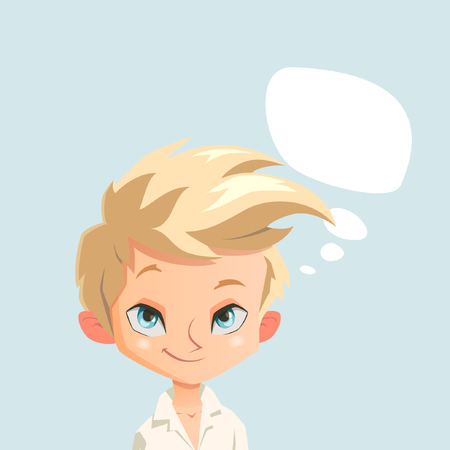sympathetic: illustration with boy thinking about something Illustration
