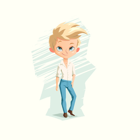 impudent: illustration with cute young man