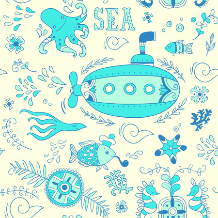 swiming: Sea adventure. seamless pattern Illustration