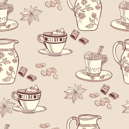 milk jug: Coffee. seamless pattern. vector background with milk jug and coffee