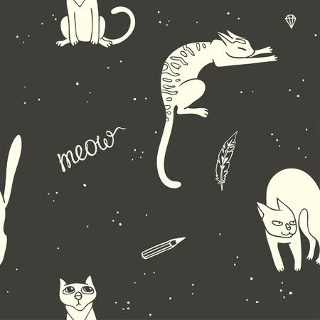 prank: Small cats. seamless pattern