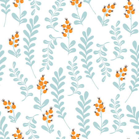 cowberry: Forest herbs and berries. floral seamless pattern Illustration
