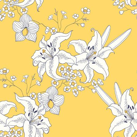 white lily: White lily. seamless pattern