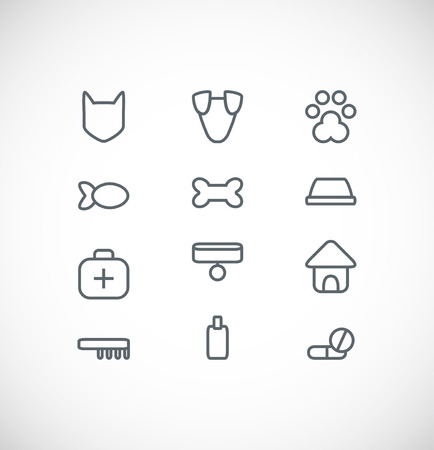 hueso de perro: conjunto de iconos de animales domésticos