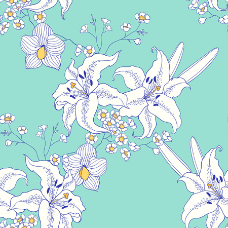 white lily: White lily. vector seamless pattern