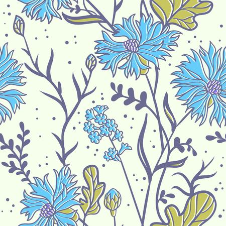 cornflowers: cornflowers. seamless pattern