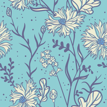 vactor: cornflowers. seamless pattern