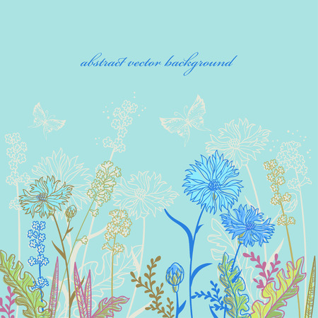 vector floral background with field flowers Illustration