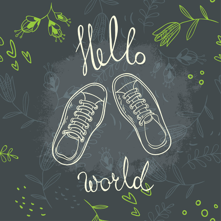 Hello world lettering on floral background