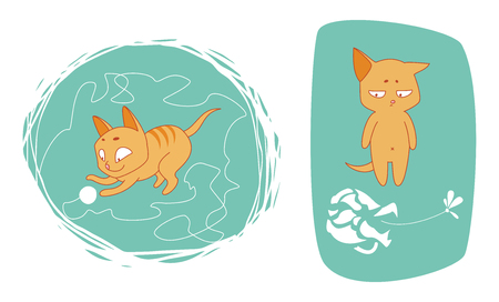 baby toy: set of illustrations with cat