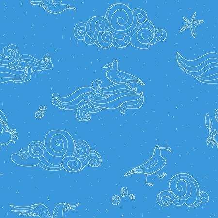 wave tourist: seamless contour pattern with gulls and clouds