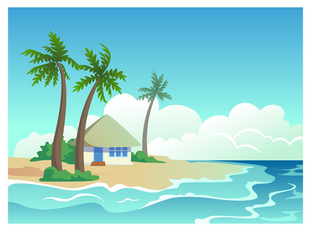 bungalow: Sea landscape illustration with bungalow on a tropical island