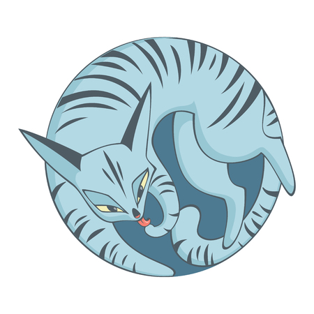 tabby: cat licking its paw. illustration in circle with tabby cat