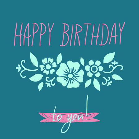 hand writing: template for birthday card with ornamental pattern and hand writing inscription
