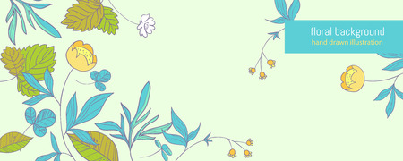 buttercup  decorative: Summer forest. background with hand drawn buttercup flowers and sprigs of wild strawberries