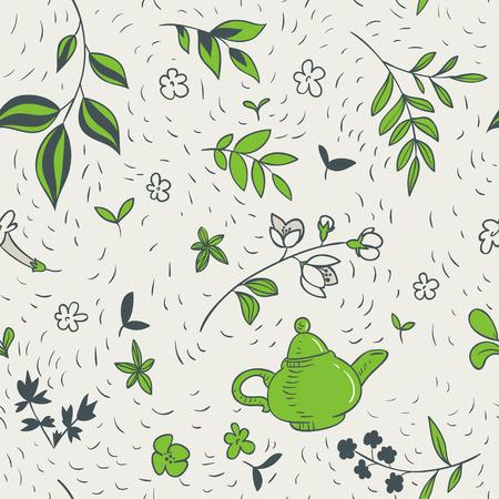 green tea seamless pattern Illusztráció