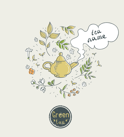 diseño de la tarjeta de té verde Ilustración de vector
