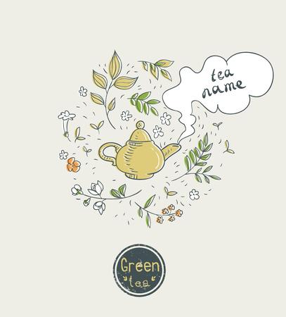 tea pot: green tea card design