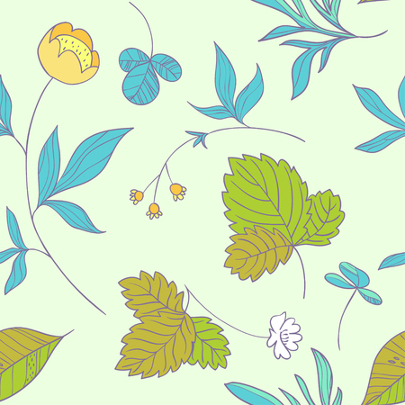 Forest herbs floral seamless pattern
