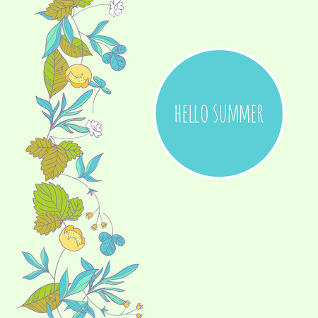 buttercup  decorative: Forest herbs floral background Illustration