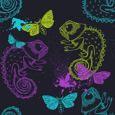 chameleons: background with butterflies and chameleons. seamless pattern Illustration