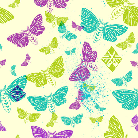 ornamental elements: moths and tribal ornamental elements. seamless pattern