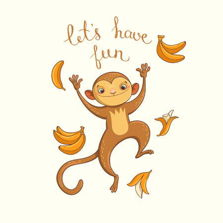 have: Lets have fun. illustration with funny jumping monkey