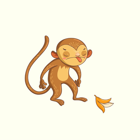 prank: monkey showing tongue.  illustration