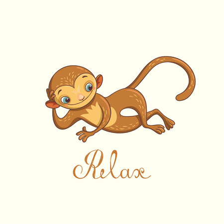 relaxed monkey. illustration with cute character