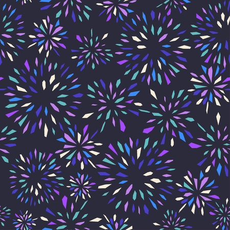 cuttings: abstract background with fireworks on dark background. Seamless pattern.