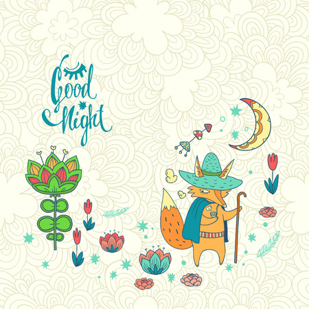 childish background with fox. doodle illustration with moon, flowers and cute cartoon character Illustration
