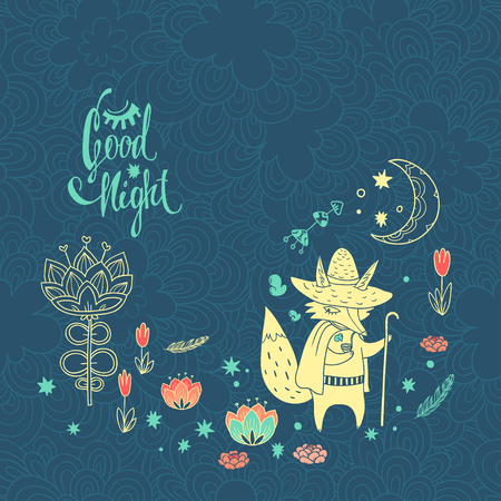 moon walker: childish background with fox. doodle illustration with moon, flowers and cute cartoon character Illustration