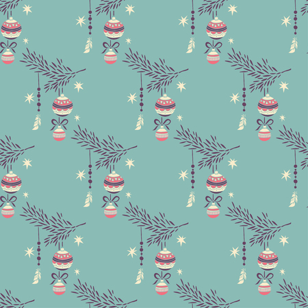 fir branch: Happy New Year and Merry Christmas. seamless pattern. vector hand drawn background. Fir branch decorated with Christmas toys