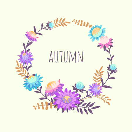 autumn flowers: Wreath with autumn flowers. Hand drawn illustration with asters and herbs. Vector floral background