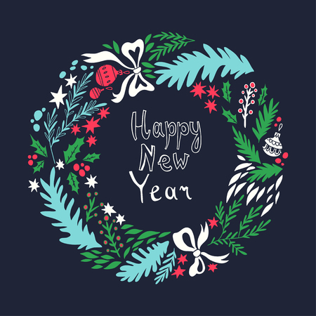 happy new year cartoon: Happy New Year card. illustration with Christmas wreath. background with floral elements. Doodle style
