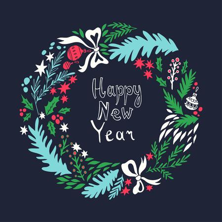 estrella caricatura: Tarjeta de Año Nuevo feliz. ilustración con corona de Navidad. de fondo con elementos florales. estilo de dibujo