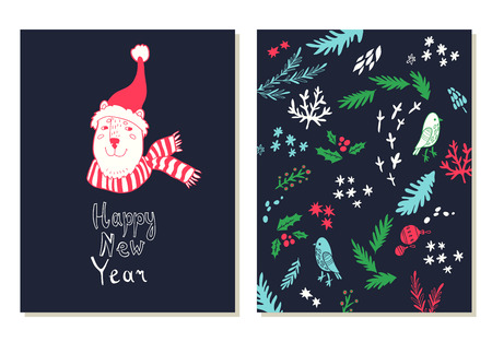 winter snow: Happy New Year lettering. Greeting cards set with christmas symbols.  illustration with bear in winter hat. Doodle style.