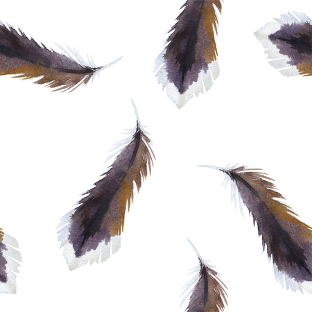 Watercolor illustration with feathers. Vector seamless pattern Illustration