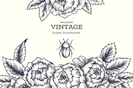 Vector hand drawn illustration with beautiful blooming flowers and bug. Vintage floral background for labels, invitation or greeting cards